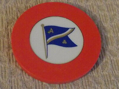 CREST AND SEAL ~ FLAG (red) HOTEL CASINO gaming poker chip