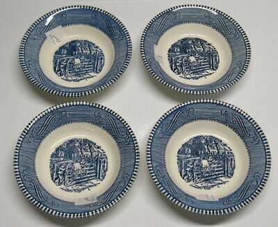 (4) Royal China CURRIER IVES Berry or Fruit Bowls 5 1/2″ Blue on White EXCELLENT