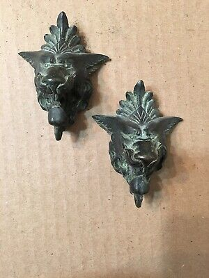 Fantastic Antique French Bronze Lion Or Wolf Head Knocker Clock Decorations