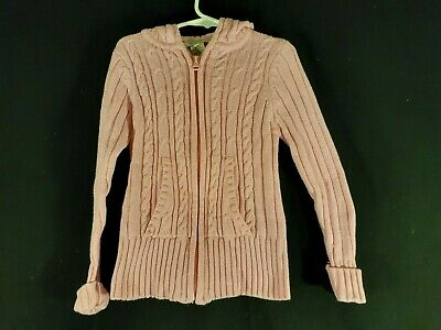 Arizona Jeans Company Youth Girls Pink Cable Knit Sweater Cotton/Acrylic Size M