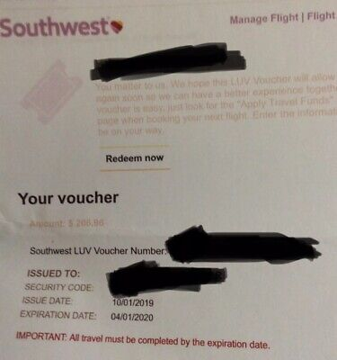 Southwest Airlines LUV (2 Vouchers Total $413.92) Use By 4/1/2020