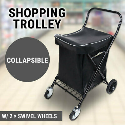 Collapsible Shopping Trolley W/ Bag Steel Cart Folding Water Resistent Grocery