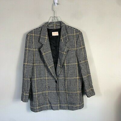 Vintage Pendleton Wool Blazer Women 16 Houndstooth White Black Yellow Suit Coat