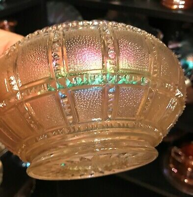 "CARNIVAL GLASS,IMPERIAL EARLY,1900's,CLAMBROTH,FROSTED BLOCK, 6""ROSE BOWL."