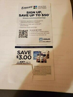 25 Coupons - Save $3 Off Ensure Multipack $75 value Exp 6/29/20