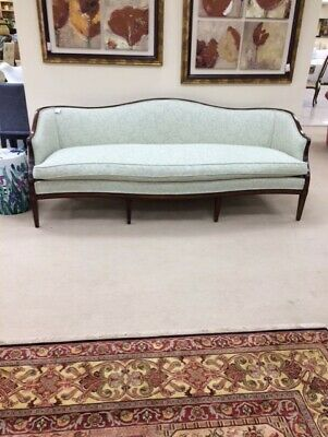 Vintage Sheraton Sofa Couch Wood Mint Green Floral Fabric French