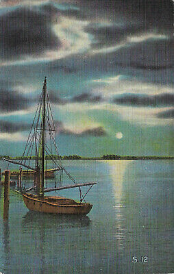 Linen postcard, sailboat under moonlight on the water in Florida