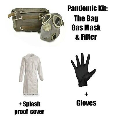 MP4 Gas Mask w/ Bag Polish Military Surplus Army Issue 80s Collectible Outdoor
