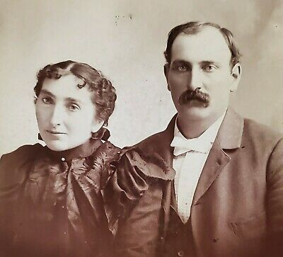 Antique Cabinet Card ID'd Man & Woman, Bolivar Missouri