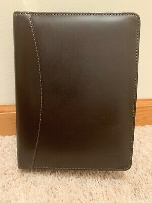Franklin Covey Brown Full Grain Aniline Leather Compact Binder Zipper Closure