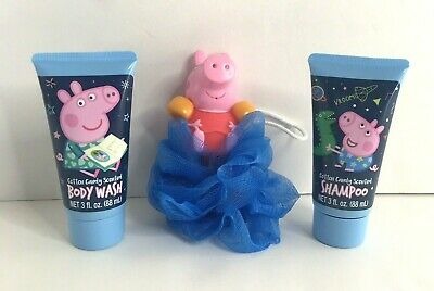 Peppa Pig Cotton Candy Scented Shampoo Body Wash & Body Scrubber NEW