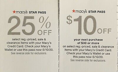 Macy's Star Pass $10 Off/ 25% Off Exp. 05/10/20