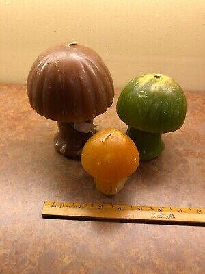 VINTAGE 1960s/1970s Retro Groovy Mid Century Wax Mushroom Candles 3 Sizes