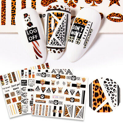 3D Nail Stickers Leopard Series Nail Art Transfer Decals Paper Decoration Tips