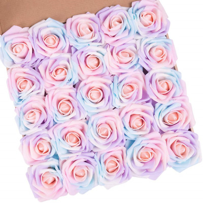 N&T NIETING Artificial Flowers Roses, 25pcs Real Touch Unicorn Foam Rose with A
