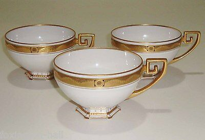 3 GORGEOUS VINTAGE EUROPEAN BONE CHINA CUPS white and gilt