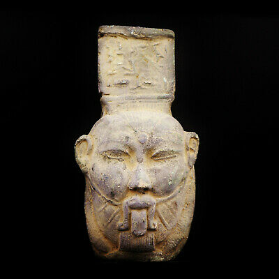 Rare Ancient Egyptian Bust Amulet GOD BES, 26th Dynasty, 664-525 BC....LARGE