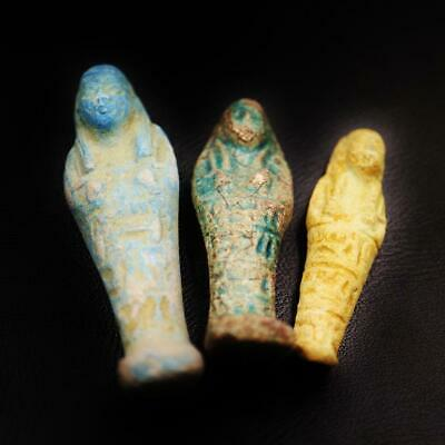 Set of 3 Ancient Egyptian Faience Ushabti (Shabti) Figure, Rare Collection