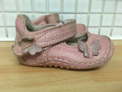 NEXT Baby Girls Leather Shoes Butterfly Size 2 Pink Uk Freepost
