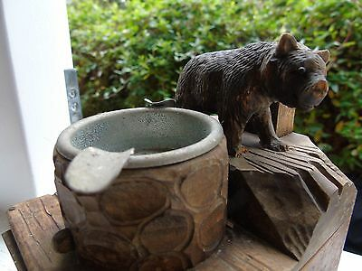 Old German Black Forest Carved Bear Match Box Cigarette Cigar Music Box Tray Art