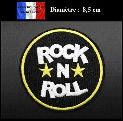 Ecusson rose Rock N Roll patches brode appliques thermocollant 7,5x7cm