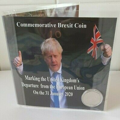 Brexit 50p Coin Uncirculated - Boris & Farage Brexit Card - New - Sealed