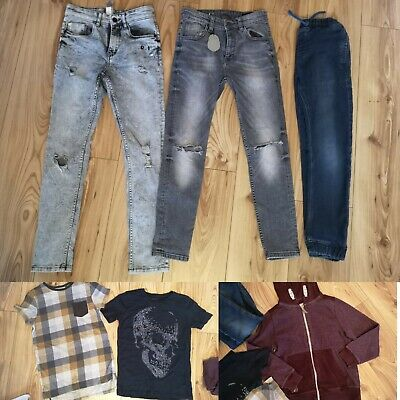 3 pairs Boys ripped jeans bundle Inc a hoody and 2  t shirts ALL NEXT - age 10