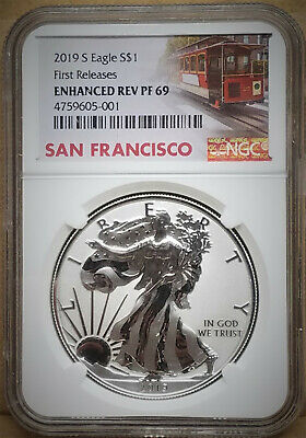 2019 S Enhanced Reverse Proof Silver Eagle (19Xe), Ngc Rev Pf69 First Release