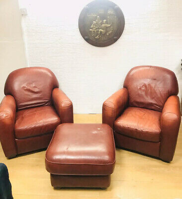 Pair of Contemporary Art Deco Style Leather Club Armchairs & Footstool