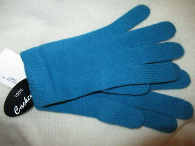 Portolano 100% cashmere Knit Gloves Teal Blue One Size New