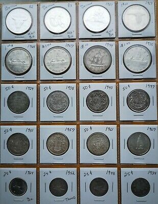*** Canada  Lot  Of  20   Silver  Coins   *** Pocket  Sheet  Not  Included ***