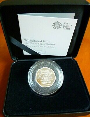 Brexit 50 pence Coin Solid Silver Proof Official Royal Mint Ltd Edition with CoA