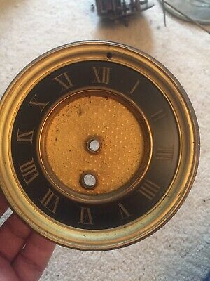 "Antique French Mantle Clock Face  Bezel & Beveled Crystal 4.75"" Diameter"