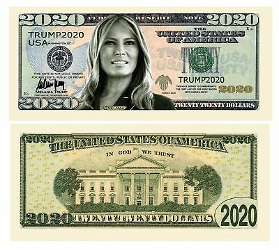 Pack of 25 - Melania Trump 2020 Re-Election Presidential Dollar Bill - Limite...