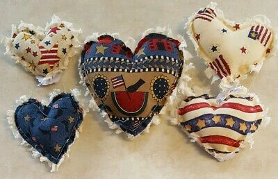 Primitive Hearts Americana Bowl Filler/ornies/accents 5 pc set