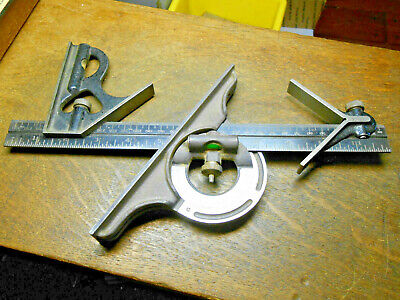 Combination Square Set 4 Pieces. Center Head, Protractor & Craftsman Rule