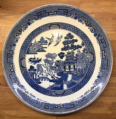 Large Willow Pattern Dinner Plate x3