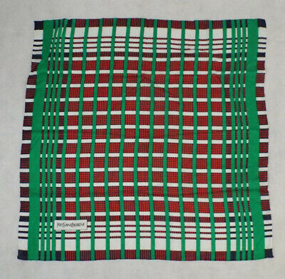 "Yves Saint Laurent YSL 26"" Square Plaid Cotton Scarf PERFECT Red Blue Green"