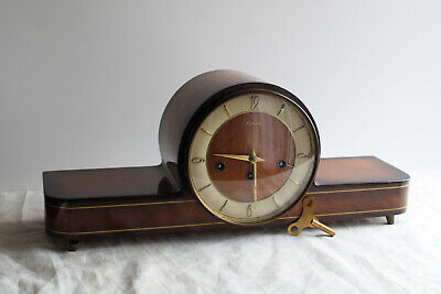 Vintage Art Deco German Westminster Chime Mantle Clock with Floating Balance