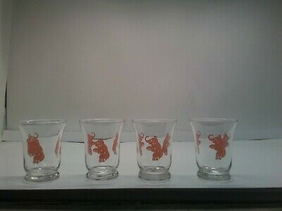 Set Of Four Vintage Pink Elephant Shot Glasses
