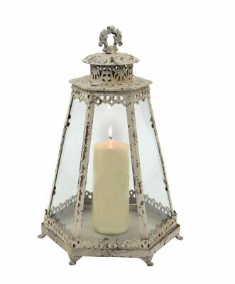 Candle Lantern Extra Large Candle Holder Antique White distressed with a Vint...