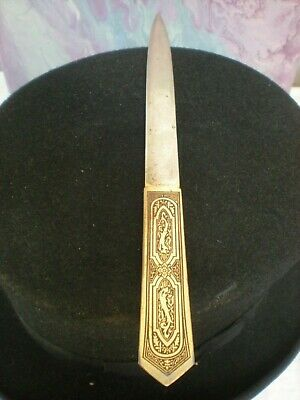 Antique Letter Opener ''Eaton Box And Board Co.'' Etched Brass Handle