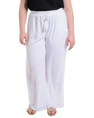 NY Collection Womens Pants White Size 3X Plus Wide-Leg Tassel Stretch $54 229