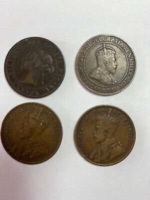 1901,1910,1916,1917 Canada Canadian Large 1 Cent Coins -Lot Of 4~Edward/Victoria