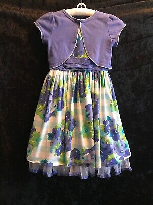 Girls Size 6 6x Easter Holiday Special Occasion Dress Blue White Floral Lot 8