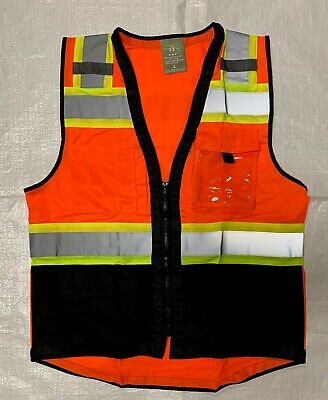 TopCal High Visibility Safety Vest w/see through Water Proof Pocket Comm. Grade