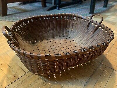 Mid 19th Century Prim Flat Form Square Basket W Side Handles & Tight Thin Weave