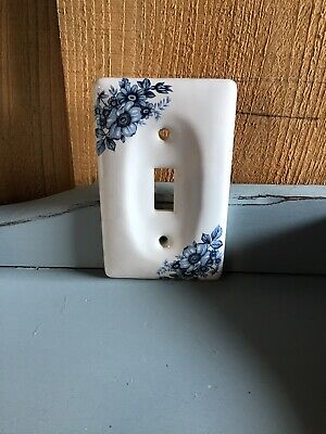 Vintage Ceramic Light Switch Cover White Blue Floral