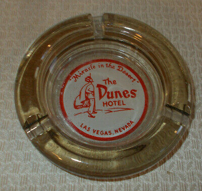 THE DUNES HOTEL CASINO VINTAGE Glass Ashtray ~ Las Vegas, NV