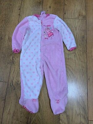 Girls Peppa Pig TU 18-24 1.5-2yre Fluffy All In One One Fleecey Suit Zip Up
